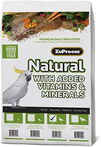 ZuPreem Natural Bird Food Smart Pellets for Parrots and Conures | Made in USA, Essential Vitamins, Minerals, Amino Acids for Caiques, African Greys, Senegals, Amazons, Eclectus (20 lb Bag)