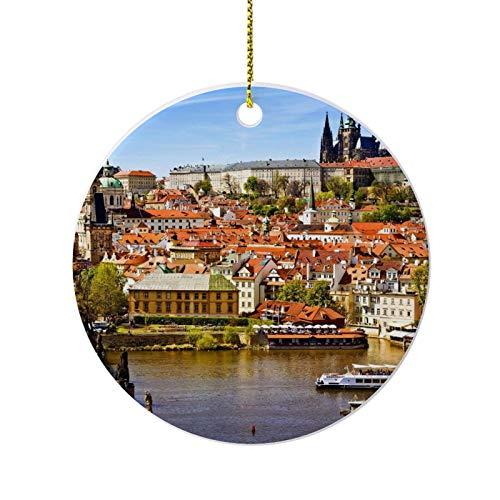 happygoluck1y Prague Ornaments for Christmas Tree,Novelty Round Porcelain Ornaments 3',Keepsake Christmas Ornaments,Farmhouse Christmas Decor,for Home
