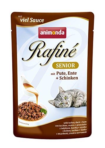 animonda Rafiné Senior Katzenfutter, Nassfutter für ältere Katzen ab 7 Jahren, Frischebeutel, mit Pute, Ente + Schinken, 12 x 100 g