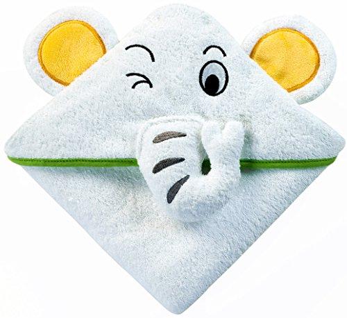 Nikkikid Toalla de felpa con capucha y diseño de elefante de recién nacido Blanco