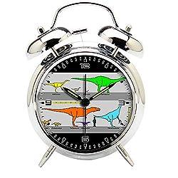 Children's Room Silver Dinosaur Silent Alarm Clock Twin Bell Mute Alarm Clock Quartz Analog Retro Bedside and Desk Clock with Nightlight-402.500_Mongolian campanian Dinosaurs