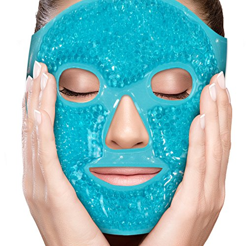 PerfeCore Facial Mask - Get Rid of Puffy Eyes - Migraine Relief, Sleeping, Travel Therapeutic Hot Cold Compress Pack - Gel Beads, Spa Therapy Wrap for Sinus Face Puffiness Headaches - Gel Mask - Blue