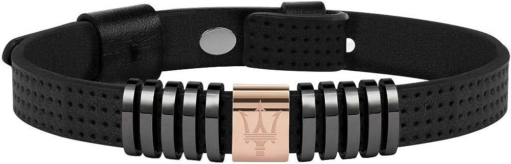 Maserati collezione jewels bracciale da uomo in acciaio  pelle, pvd canna di fucile, pvd blu e pvd oro rosa 8033288839880