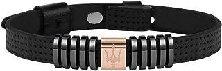 Bracelet pour homme, Collection Maserati Jewels, en acier, PVD gris, or rose, bleu et cuir - JM418ANJ02