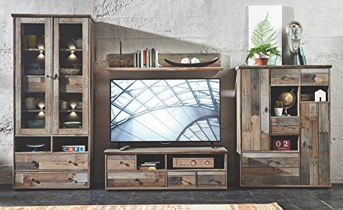 Wohnorama Wohnwand 4-TLG Bonanza 1 inkl LED Beleuchtung Driftwood Dekor by