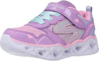 Skechers Heart Lights Trainers Filles Silver/Pink/Led Low top Trainers