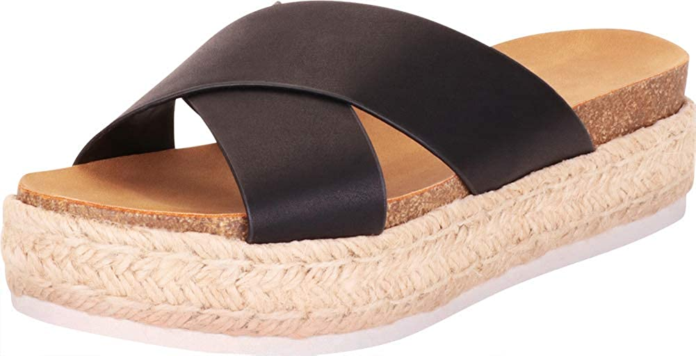 Cambridge Select Women's Crisscross Espadrille Slip-On Flatform Slide Sandal