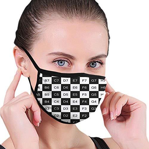 Mond Sjaal Checkers Game Monochrome Schaakbord Ontwerp Met Tegel Coördinaten Mozaïek Vierkant Patroon Zwart Wit Ademend School Kleurrijke Herbruikbare Gezicht Sjaal Outdoor Windproof Mo