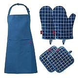 esonmus Set con 5 PC,Grembiule Impermeabile da Uomo e Donna+2 Guanti da Forno Silicone+2 presine, per Cucina, Cucina, Forno, Barbecue(Blu)