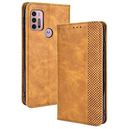 ALAMO Retro Klapp Hülle für Motorola Moto G10 / G20 / G30, Premium PU Leder Handyhülle mit Kartenfächer & Geldbeutel - Braun