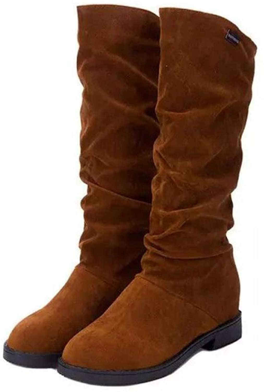 AVENBER Women Mid Calf Boots Female Height Increasing Round Toe Flock Fashion Winter Footwear Short Plush Rubber Synthetic shoes