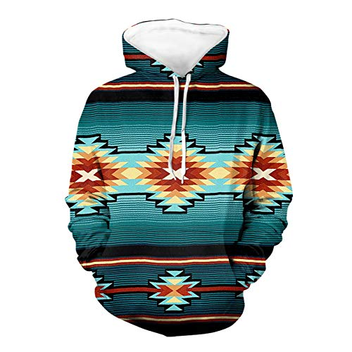 SEANATIVE Türkise Unisex Hoodies 3D einheimische Azteken-bedruckte lange Ärmel Mode Sweatshirts mit Taschen für Männer 2XL