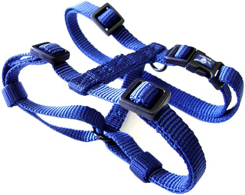 "Hamilton Adjustable Comfort Nylon Dog Harness, Navy Blue, 5/8"" x 12-20"""