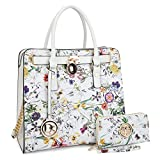 DASEIN Fashion Top Belted Tote Satchel Designer Padlock Handbag Shoulder Bag for Women (2553W-white floral)