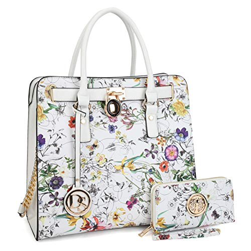 DASEIN Fashion Top Belted Tote Satchel Designer Padlock Handbag Shoulder Bag for Women (2553W-white floral)