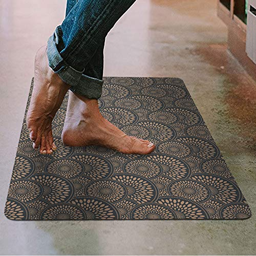 "Shape28 Floor Mat Ultra-Thin Kitchen Rug with Non Slip Rubber Backing 35""x23"", Cappuccino"