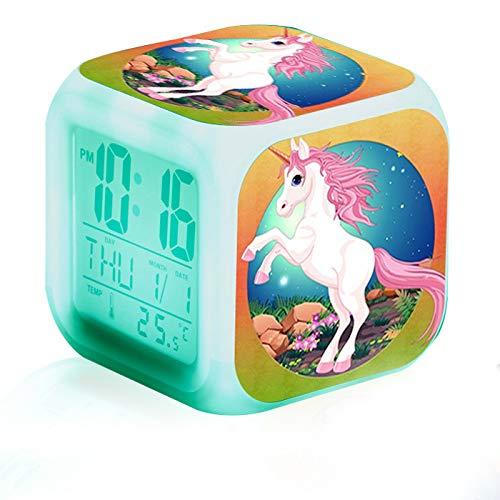1 reloj despertador con luz LED de unicornio para mesita de noche iluminada con 7 colores cambiantes para dormitorio, oficina, sala de estar, noche, cocina, regalo de cumpleaños