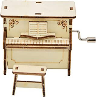 Lx10tqy DIY Wooden Piano Shape Music Box Hand Crank Musical Educational Kids Toy Gift
