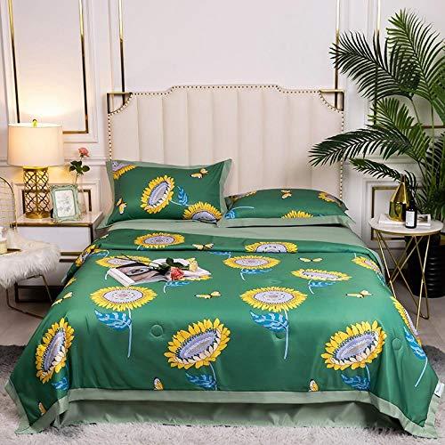Meet Beauty Seda Juegos De Sabanas 135, decoración de Dormitorio Cubierta Reversible Colcha en Relieve-Verde_Conjunto de una Pieza de edredón de 180x220cm