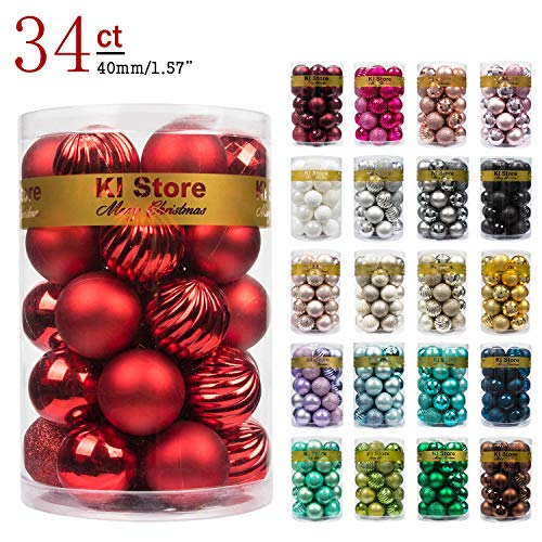 KI Store 34ct Christmas Ball Ornaments 1.57' Small Shatterproof Christmas Decorations Tree Balls for Holiday Wedding Party Decoration, Tree Ornaments Hooks Included (40mm Red)
