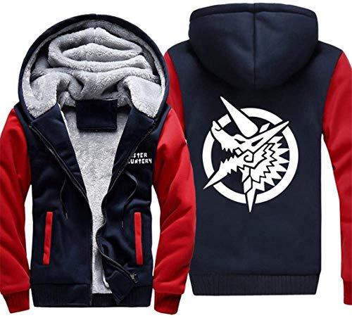 ZEDIYANJIN Sweatshirt Herren Pullover Jacke - Tide Monster Hunter Print Baseball Jersey Sweatshirt Warm Lässige Zip Langarm-Herbst-Winter-Mantel-G (Farbe: B, Größe: XXXL) (Color : -, Size : -)