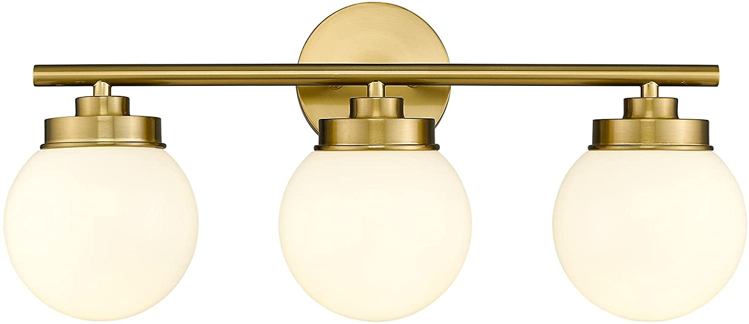 Buy Gold Bathroom Light Fixtures Lms 3 Light Globe Bathroom Vanity Lights With White Glass Shade Lms 098 Online In Indonesia B08s2z3dp1