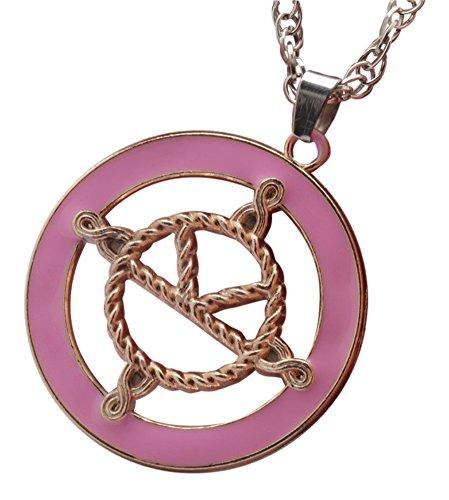Collar de medalla de Eggsy, inspirado por la pelcula Kingsman: The Secret Service, de color rosa, Logo chapado en oro esmaltado, cadena baada en plata
