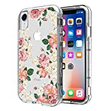 Badalink iPhone XR Case, iPhone Xr 6.1 inch Case 3 in 1 Heavy Duty Case Soft Clear TPU Cover High Impact Shock Absorbent Bumper Slim Fit Artistic Shell Protective Skin for iPhone XR 2018 - Roses