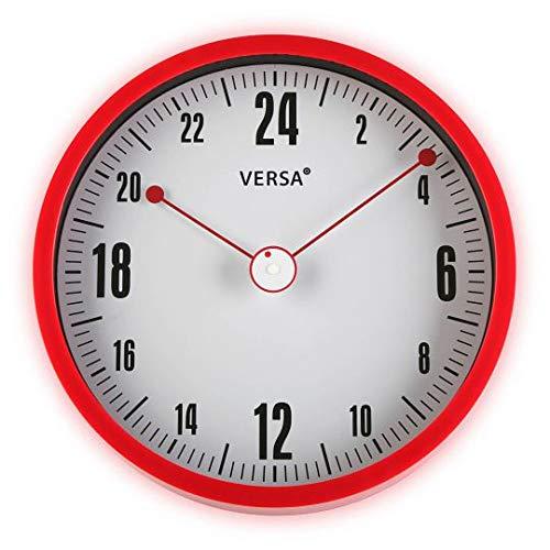 Versa 20900017 Reloj de cocina de pared, Aluminio, Blanco-Rojo,30cm diámetro
