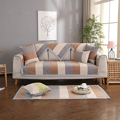 B/H Tejido Poliéster Poliéster Sofa Cubre,Funda de sofá de Tela Simple, cojín de sofá Universal Antideslizante-Café Color_70 * 70cm,poliéster y Elastano Funda sofá