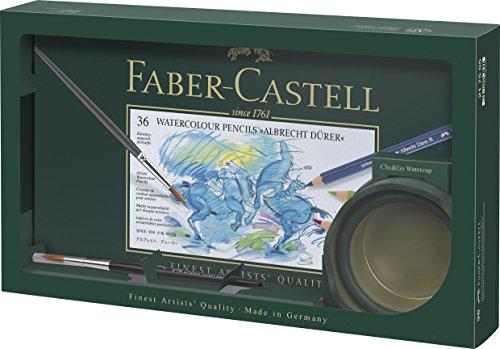 Faber-Castell 217505Juego Alberto Durero, 36lápices acuarelables, 1clic y Go Taza de agua con pincel