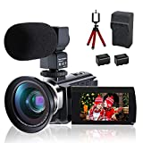 4K Video Camera Camcorder, CofunKool Ultra HD 4K Digital Video Camcorder 48MP 3.0 Inch IPS Screen 16X Digital Zoom IR Night Vision Vlogging Camera Recorder with Microphone, Wide Angle Lens, LED Light