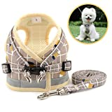 Zunea No Pull Small Dog Harness and Leash Set Adjustable Reflective Step-in Chihuahua Vest Harnesses Mesh Padded Plaid Escape Proof Walking Puppy Jacket for Boy Girl Pet Dogs Cats Khaki S