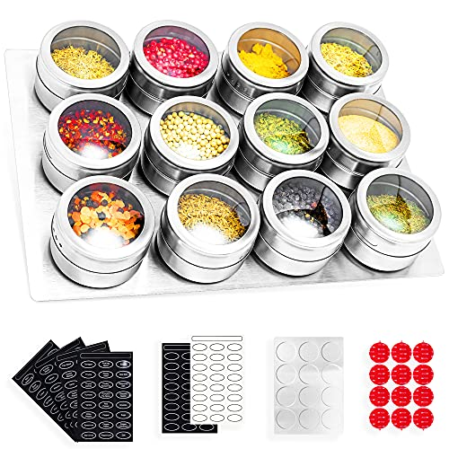 SZILBZ Magnetic Spice Tins with Stainless Steel Wall Mounted, Magnetic Spice Rack Spice Container With Labels, Magnetic Spice Jar With Clear Lid And Small Holes Sift&Pour Rust Free- Easy To Clean