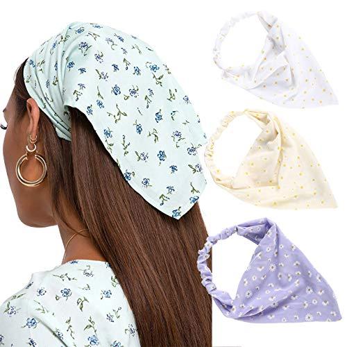Floral Elastic Hair Scarf Headband - 3 PCS Chiffon Head Kerchief Headband Print Floral Hair Scarves with Hair Clips Kerchief Head Scarf Hair Bandanas for Women (White/Beige/Purple)