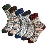 OverDose Socken Unisex Beiläufige Herbst Winter Warme Starke Wollesocken Stricken Weiche Atmungsaktive Sneakersocken, 5er Pack