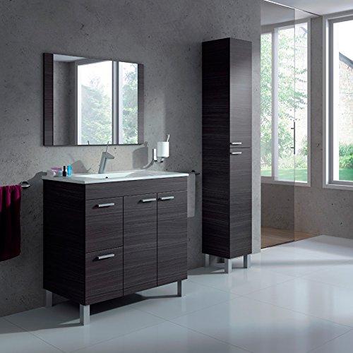 Abitti Pack Conjunto de baño Mueble + Espejo a Juego + Lavamanos Cerámico + Columna Color Gris Ceniza