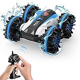 Kriogor Coche teledirigido 2,4 GHz 4 WD resistente al agua RC Stunt Auto con mando a distancia 360 ° rotación anfibico Offroad coche electrónico vehículo interior exterior regalos para niños