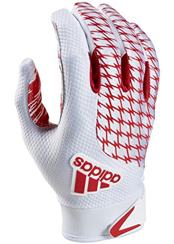 adidas Youth AdiFast 2.0 Receiver's Gloves, White/Red, Large