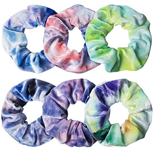 6 Pack Velvet Scrunchies for Girls Big Scrunchies for Hair, VSCO Girl Stuff Hair Accessories,6 Tie-Dyed Colors , Christmas Gifts for Women Teenage Girls