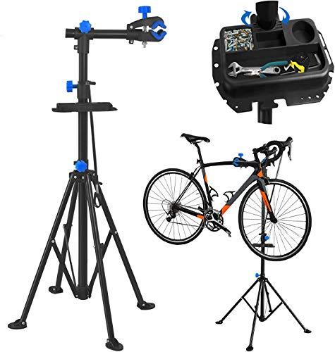 NAIZY Fahrradmontageständer mit Werkzeugablage Fahrrad, Klappbar und Höhenverstellbar mit Magnetischer Werkzeugschale Reparaturständer Montageständer bis 50kg