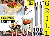 8x Riesen - Picknickset Grillspieße Grillset + 4x Holzbrett Picknick, Schneidebrett D 28cm, rund, Lagerfeuer-Würstchenspiesse, Grillspiess, Gemüse grillen, ideal für Grillfest,...