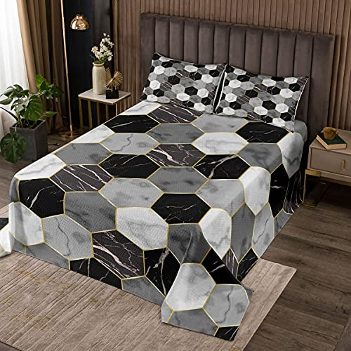 Erosebridal Black Grey Marble Quilted for Boys Teens Men White Gray Hexagon Honeycomb Coverlet Set King Size,Kids Gold Marble Grain Bedspread Abstract Marble Art Geometry Quilt Set 3 Pcs