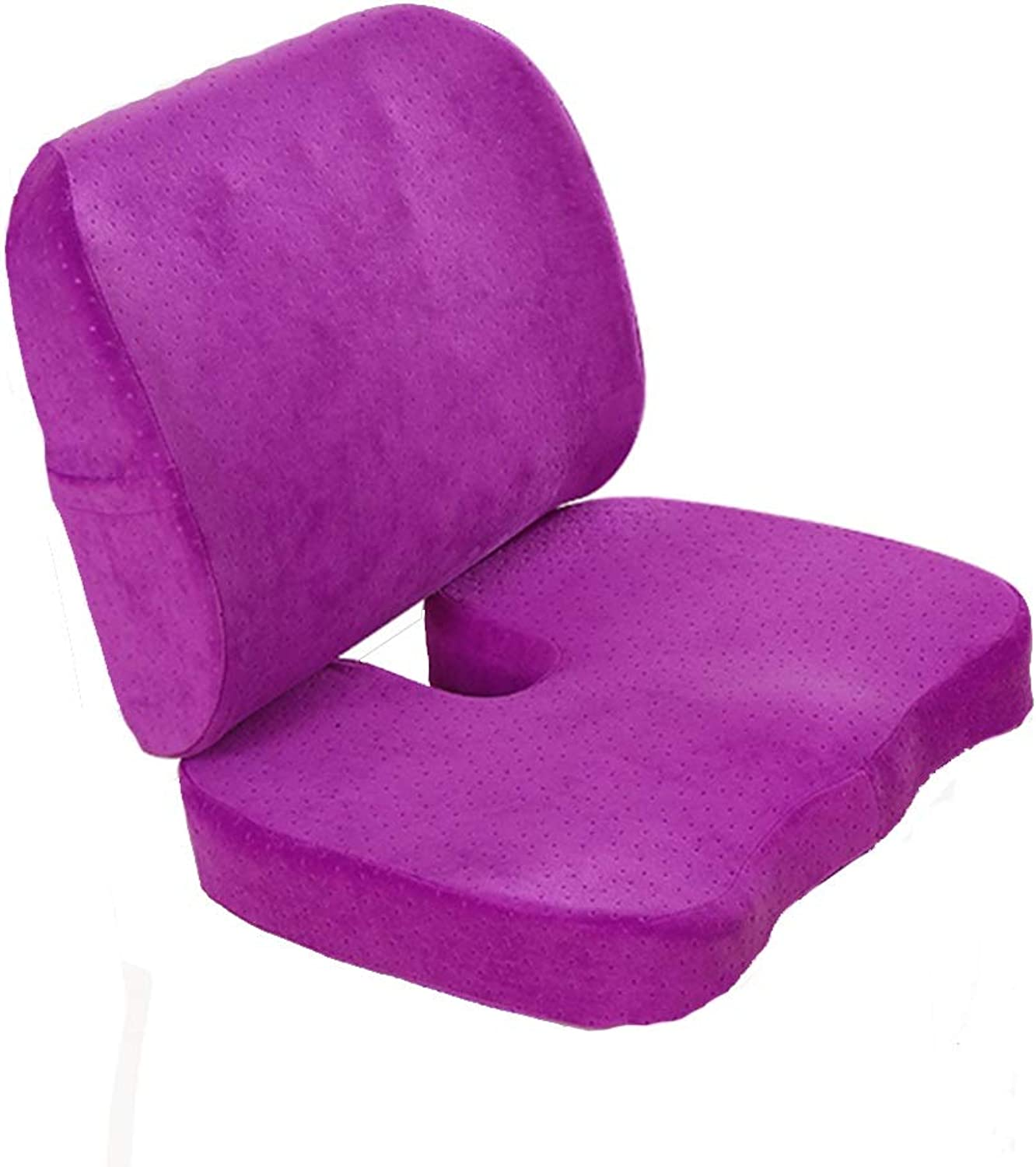 Back Cushion Lumbar Support Pillow Ergonomic Back Support Seat Cushion Suits Office Car Student Pregnant Woman GAOFENG (color   Purple-Suede, Size   Basis)