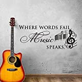 Etiqueta de la pared frase caída de música en música que habla etiqueta de la pared sala de estar dormitorio arte romántico decoración creativa pegatina 69X96cm
