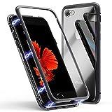 Funda para iPhone 6 Plus/6s Plus, ZHIKE Funda de Adsorción Magnética Súper Delgada Marco de Metal de Vidrio Templado con Cubierta Magnética Incorporada para Apple iPhone 6 Plus/6s Plus (Negro Claro)