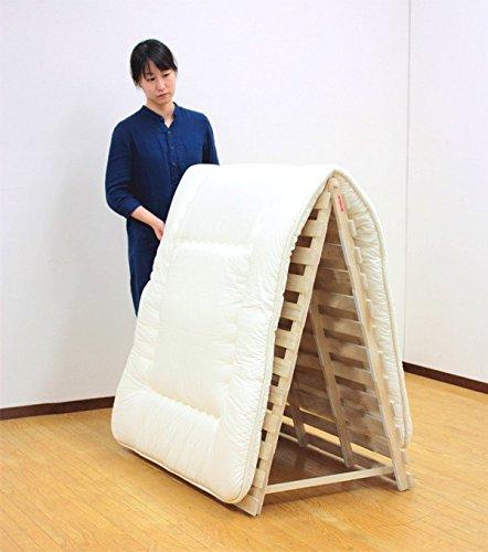 すのこマット 折りたたみ 裏面には床を傷つけにくい樹脂製クッション付き。 オシャレ 住まい スタンド式すのこベッド シングル