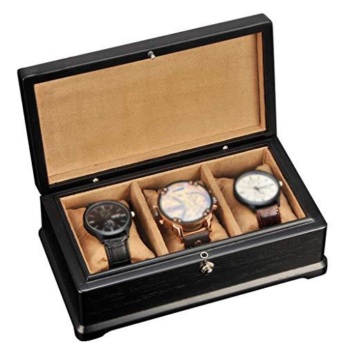 GQSHK GQSHK 3-Slots Watch Box für Männer/Frauen aus Holz Schmuck Aufbewahrungsvitrine Showcase Organizer mit 3 Removal Aufbewahrungskissen