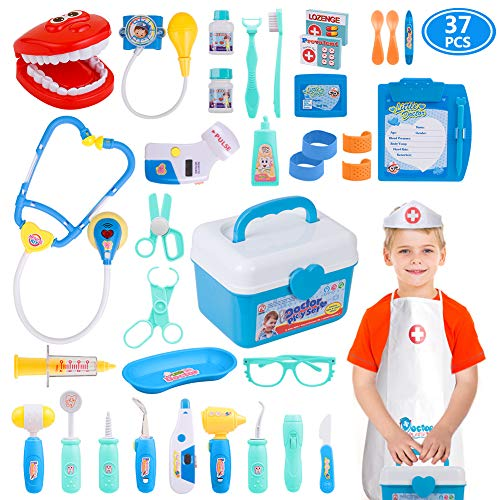 Gifts2U Toy Doctor Kit, 37 Pieces Kids Pretend Play Toys Dentist Medical Role Play Educational Toy Doctor Playset for Boys Ages 3-6