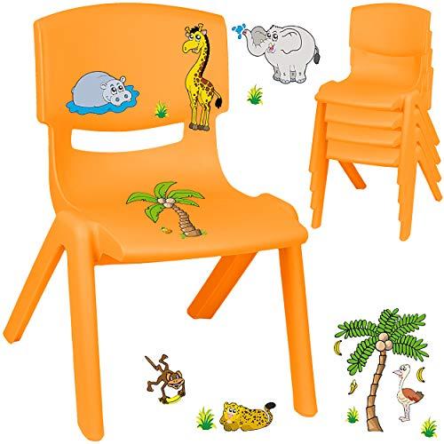 alles-meine.de GmbH Kinderstuhl / Stuhl - Motivwahl - orange + Sticker - Zootiere & Giraffe - inkl. Name - Plastik - bis 100 kg belastbar / kippsicher - für INNEN & AUßEN - 0 - 9..